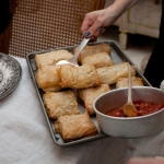Salmon Pastry Filo Boxes Served With Tomato Jam