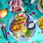 Fish Tacos with Mango Salsa, Coleslaw, and Guacamole