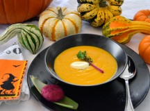 Halloween Pumpkin Soup with Veggies and an Arepa