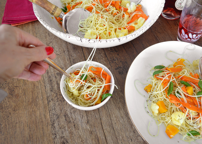 Rice Spaghetti with Carrot and Squash